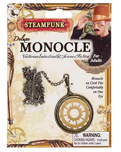 Horror-Shop Steampunk Monokel in Gold als stylishes Accessoire für Halloween, Karneval, Cosplay und LARP