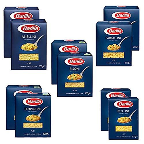 TESTPAKET Pasta Barilla italienisch (10 x 500g) 5 Arten von Nudeln kleine Nudeln (Risoni-Stelline-Farfalline-Anellini-Tempestine)