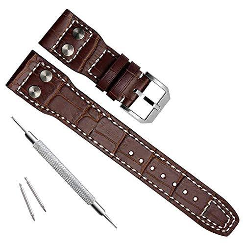 Correa de reloj de piel auténtica de 22 mm para relojes de piloto IWC (hebilla de pin/marrón)
