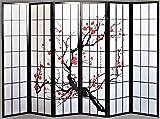 Legacy Decor 6 Panel Plum Blossom Screen Room Divider Black Color