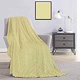 Toopeek - Manta de franela de color gris y amarillo con diseño de rayas retro retro retro de estilo moderno, súper suave y cómoda, de 70 x 70 pulgadas, color amarillo pálido, beige y blanco