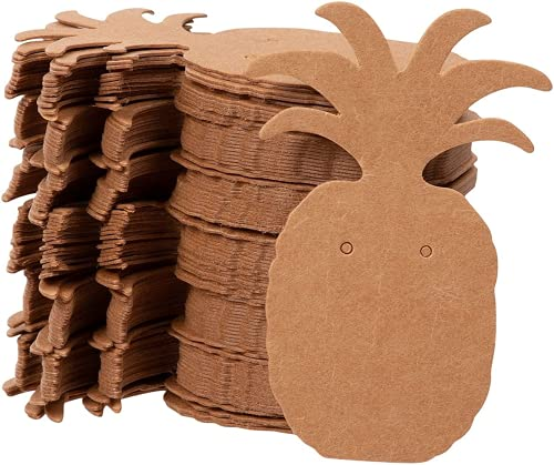 Tarjetas para pendientes – Tarjetero para pendientes, diseño de piña en forma de papel kraft para joyas, para pendientes, pendientes y libro de moda marrón