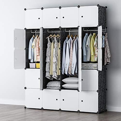YOZO Clothes Wardrobe Closet Plastic Dresser Multi-use Portable Modular Cube Storage Organizer Bedroom Armoire, 20 Cubes, Depth 18 inches, Black