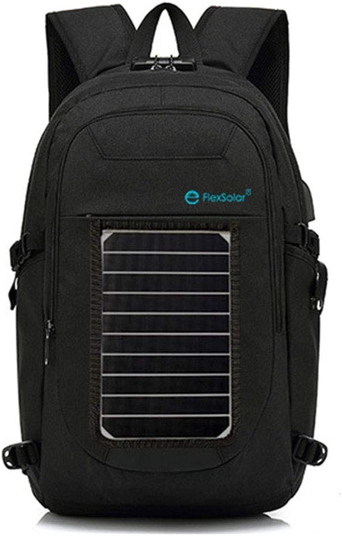 HWX Solar Powered Laptop Backpack Travelling Bagpacks with USB Charger Port, Anti-Theft Lock & Headphone jack,Black,48  28  13cm