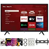 TCL 75S435 75-inch 4-Series 4K Ultra HD Smart Roku LED TV Bundle with Premiere Movies Streaming 2020 + 30-100 Inch TV Wall Mount + 2X 6FT 4K HDMI 2.0 Cable + 6-Outlet Surge Adapter