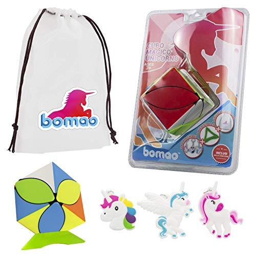 Juego de 7 Piezas Magic Cube Unicorn 3 Llavero Bolsa Pegatina Juego de Pedestal Juguete Rompecabezas