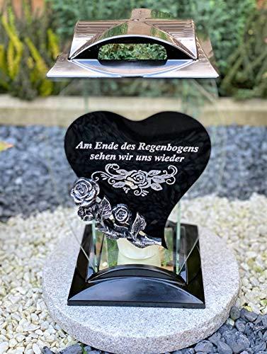 Grablampe Handmade NEU Herz Motiv mit Beschriftung - 32 cm - Grablicht Grabkerze Grabdekoration Grabschmuck Gartenlampe incl.Grabkerze