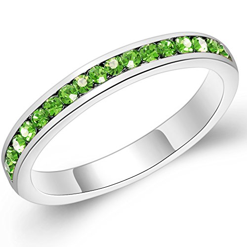 3mm Stackable Plating Silver Eternity Band Ring w/ Colored Crystals Birthstones (8, Aug. Peridot) by Sinlifu