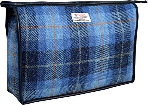 Vagabond Bags Harris Tweed Blue Check Giant Holdall Bag Trousse de toilette, 34 cm, Bleu (Mid Blue)