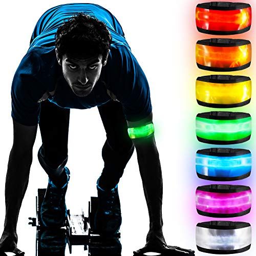 7 Pieces LED Armbands LED Band Bracelet Light Up Sports Wristbands with Elastic Band Reflective Running Arm Gear Glow in The Dark-Safety Bands for Runners Joggers Outdoor Activities