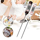 ZKH Digital Meat Thermometer (2 PACK) BBQ Electronic Thermometer Cooking Food Timer with Long Probe for Kitchen Meat Outdoor BBQ Oil Milk Yogurt (Black+White)