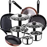 Bateria de cocina 8 piezas SAN IGNACIO Toledo, acero inoxidable, con juego sartenes (20/24/28 cm) y grill 28 cm SAN IGNACIO...