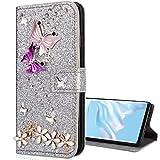 Nadoli Leder Hülle für Huawei P30,Luxus Bling Glitzer Diamant 3D Handyhülle im Brieftasche-Stil...