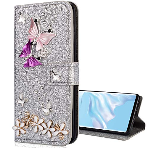 Nadoli Leder Hülle für Huawei P40 Lite E/Y7P,Bling Glitzer Diamant 3D Handyhülle im Brieftasche-Stil Schmetterling Blumen Flip Schutzhülle Etui für Huawei P40 Lite E/Y7P,Silber