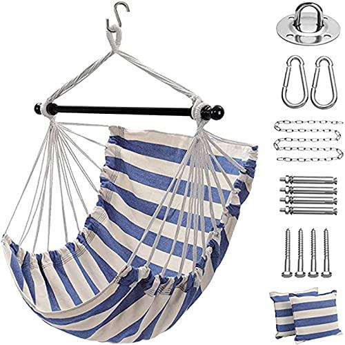Sedia a dondolo sospesa con 2 cuscini per giardino, per interni, camera da letto, terrazzo (blu/bianco)