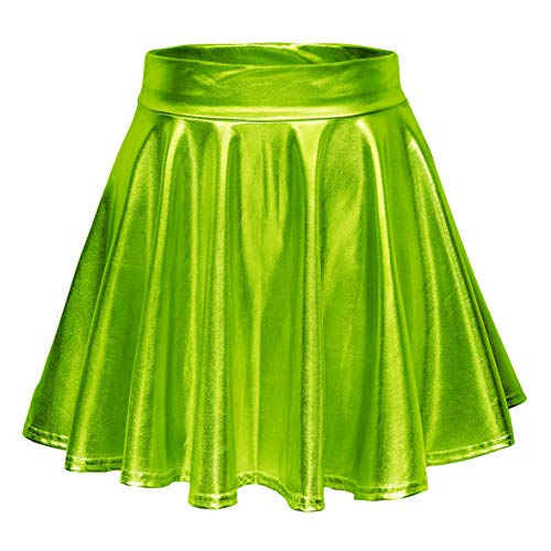 Urban CoCo Women's Shiny Flared Pleated Mini Skater Skirt (L, Candy Green)