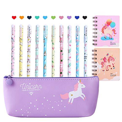 Unicorno Penne, 10pcs Unicorno Penne di Colori e Astuccio e Unicorno Taccuino, Ragazze Regalo di Compleanno per Bambine,un Ottimo Regalo x una Bambina (Porpora)