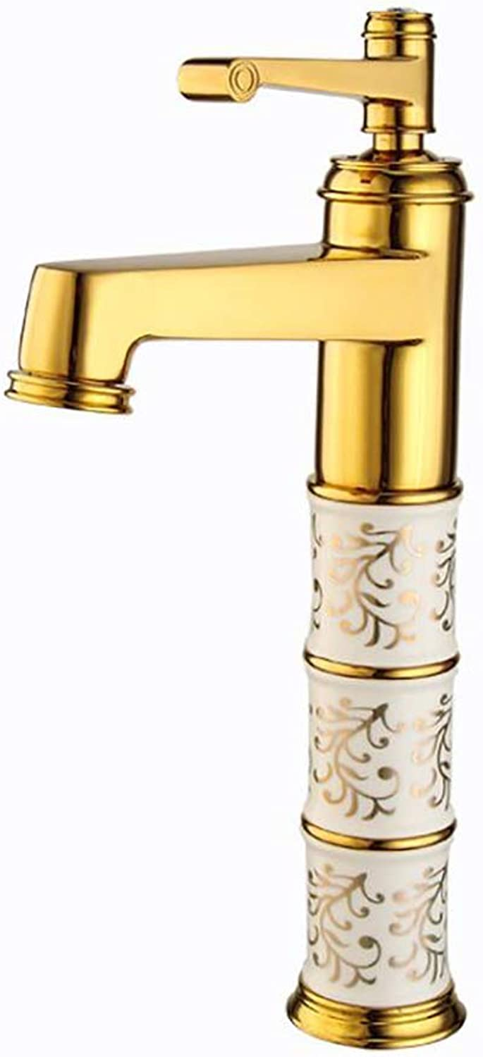 LINLIN Household basin water-tap copper hot and cold single hole gold-plated ceramic faucet bathroom seat faucet,gold,B