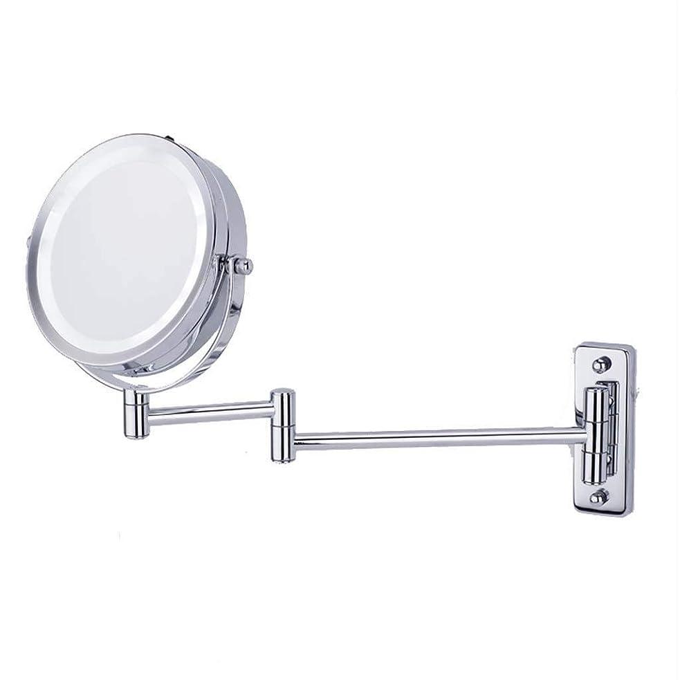 レイプもっともらしいスロベニアSDFDP 洗面化粧台ミラーメイクが点灯拡大鏡ウォールマウントLED照明付き化粧鏡5X拡大鏡化粧鏡360°スイベル拡張可能な2つは浴室のためのバニティミラーの両面ミラー化 (Color : Metallic, Size : 6 inches)