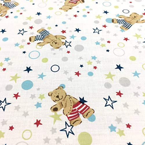 Tela por metros de sábana estampada - Algodón y poliéster - Ancho 270 cm - Confeccionar ropa de cama, decoración, manualidades | Ositos y estrellas, azul