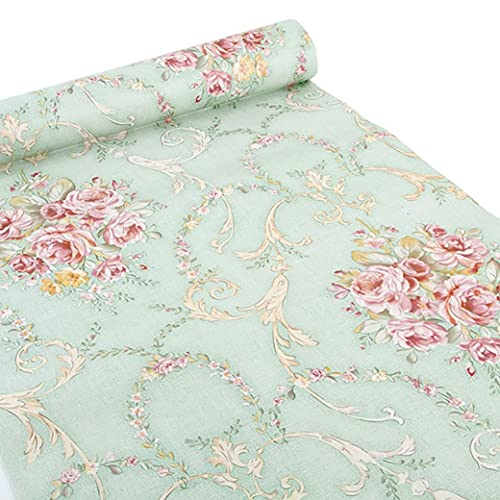 (Green-Rose) - Ya Jin Vintage Flower Shelf Liner Dresser Drawer Sticker Self-Adhesive Cabinet Desk...