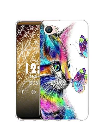 Sunrive Funda Compatible con iPhone 5/5S/SE(2016), Silicona Slim Fit Gel Transparente Carcasa Case Bumper de Impactos y Anti-Arañazos Espalda Cover(Q Gato 4)