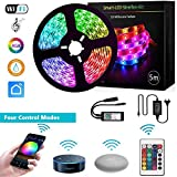 LED Strip Alexa by GoKlug LED Strip Google Home, LED Strip Dimmer, RGB LED Strip Kit LED Strip Waterproof, LED Strip for TV, LED Strip Lights Music Sync, Controllable via LED Strip Remote & Mobile App