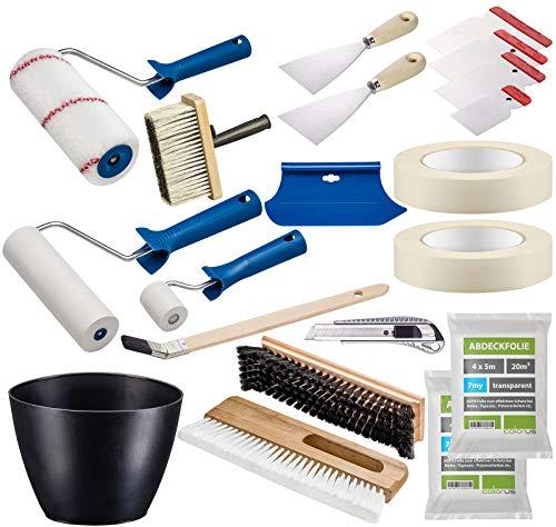 Colorus Profi Tapezier Set 17-teilig | Tapezierwerkzeug Set für Vliestapete Renovierungsset | Cuttermesser Andrückroller Tapezierbürste Deckenbürste Kleisterwalze | Malerwerkzeug Malerbedarf
