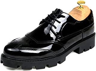 Sygjal Men's Business Oxford Casual Fashion Height Increasing Insole Conventional And Patent Leather (Color : Gloss Black, Size : 38 EU)