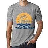 Hombre Camiseta Vintage T-Shirt Gráfico Time To Say Hello To Summer In Palma DE Mallorca Gris Moteado