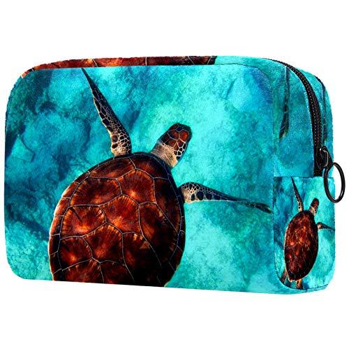 KAMEARI Bolsa de cosméticos de mar tortuga de buceo océano grande bolsa de cosméticos organizador multifuncional bolsas de viaje