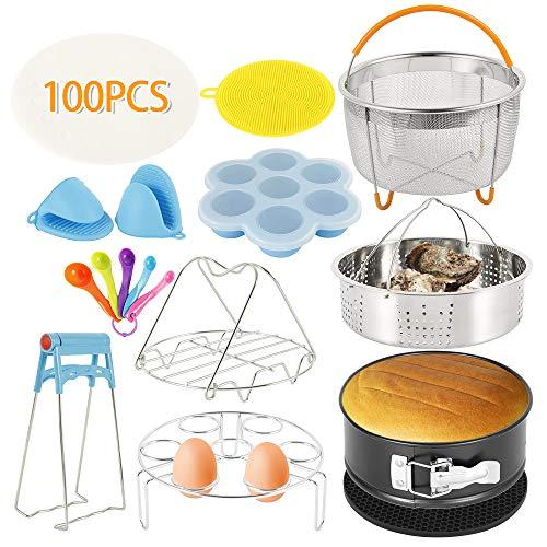 Ghopy Zubehör Set für Instant Pot, Schnellkochtopf Zubehör Stapelbare Edelstahl Dampfgarer Zubehör für 6/8 QT