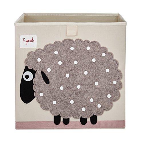 3 groddar kub förvaringsbox – organiseringsbehållare för barn och småbarn – får, 33 x 33 x 33 cm