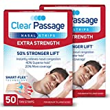 Clear Passage Nasal Strips, Tan, 100 Count | Works Instantly to Improve Sleep, Reduce Snoring, Relieve Nasal Congestion Due to Colds & Allergies