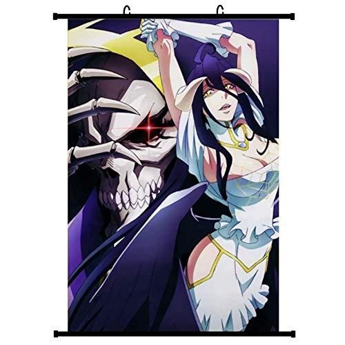 Otaku-Base.de® Overlord Anime Wallscroll Poster (Vers. B), 60x90 cm Canvas Kakemono Wall Scroll Merch (Motiv: Albedo & Momonga)