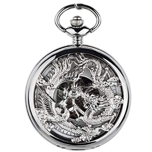 ZHJBD JIAN Pocket Watch, Dragón Y Phoenix, Bolsillo Movimiento De Reloj Grabado Retro Boda Flip Par De Relojes Mecánicos Automáticos Reloj De Bolsillo De Estilo Chino. (Color : 2)