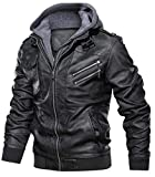 JIINN Lederjacke Herren Abnehmbarer Hoodie Herbst Winter Bomber Motorrad PU Leder Jacken Mit Kapuze Mantel Mens Hooded Leather Jacket (Schwarz,X-Large)