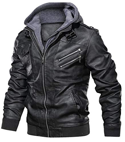 JIINN Lederjacke Herren Abnehmbarer Hoodie Herbst Winter Bomber Motorrad PU Leder Jacken Mit Kapuze Mantel Mens Hooded Leather Jacket (Schwarz,Medium)