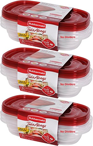 Rubbermaid 714270014994 Take Alongs Food Storage Container, 4 Rectangle, Set of 9, 4 Cup (9 Pack), Red