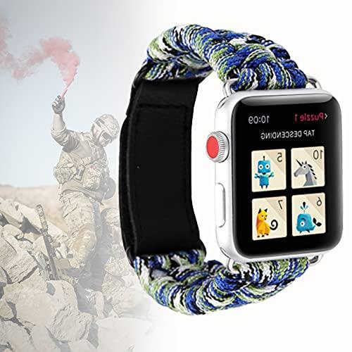 Banda Deportiva Compatible con Apple Watch Band Durable Nylon Tejido Velcro Transpirable 550 Paracord Pulsera Salvavidas para Iwatch Series 5 4 3 2 1,42mm/44mm