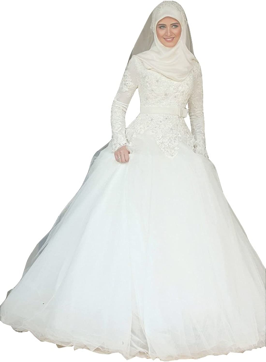 Ai maria Women's Muslim A Line Wedding Dresses