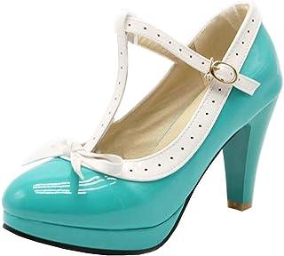LOVOUO Mary Jane Chaussures Femme Escarpins Vernis Talon Bloc Carré Haut Plateforme avec Lanière Noeud Boucle 9CM
