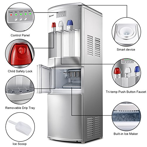 COSTWAY 2-in-1 Water Cooler Dispenser with Built-in Ice Maker, Freestanding Hot Cold Top Loading Water Dispenser, 27Lbs/24H Ice Maker Machine with Child Safety Lock, Sliver