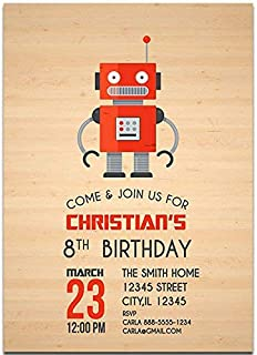 Wooden Robot Birthday Party Invitations
