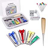 gracosy Fabric Bias Tape Maker Kit for Sewing Quilting Bias Adjustable Binder Clip Binding Maker Tape Tool Set 4 Different Sizes 6mm 12mm 18mm 25 mm DIY