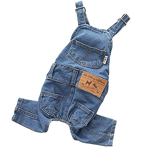 Pet Clothes Elastic Jeans Overalls Comfortable Washed Denim Cute Style for Puppy Cats (XS)