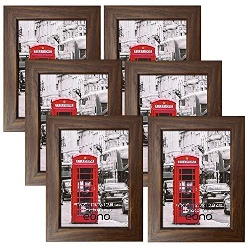 Amazon Brand - Eono Rustikale Bilderrahmen 13x18 cm mit Glas und Holzmaserung, wandhängend und freistehend, 6er Set