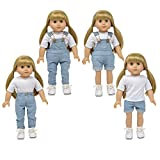 The New York Doll Collection Ligero Mezclilla Pantalones de Peto (peto) encaja 18 pulgadas / 46 cm Muñecas - Muñeca Ropa