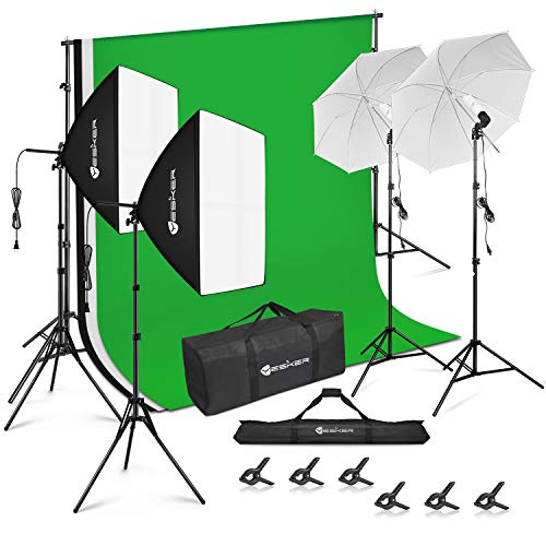 Yesker Photography Lighting Kit 8.5 x 10 ft Background Support System Umbrellas Softbox Continuous Lighting Kit for Photo Shoot Studio Portrait, Product and Video Recording Photography
