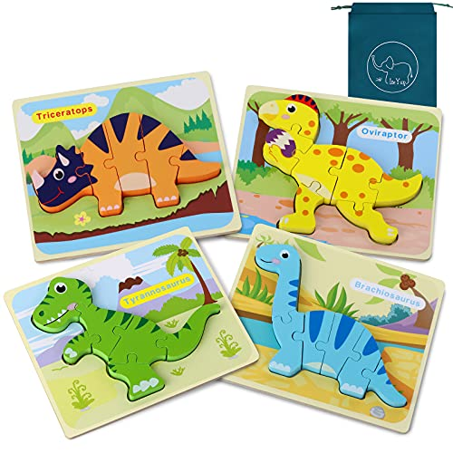 Dinosaur Toys for Boys, Dinosaurs Wooden Chunky Puzzles Montessori Toddler Game Set for Kids Age 1 2 3 4 5 Year Old Boys and Girls,3D Animal Wood Peg Jigsaw Toys 4Pcs with Drawstring Bag